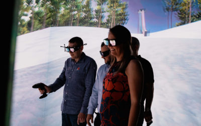 Students immersed in virtual reality